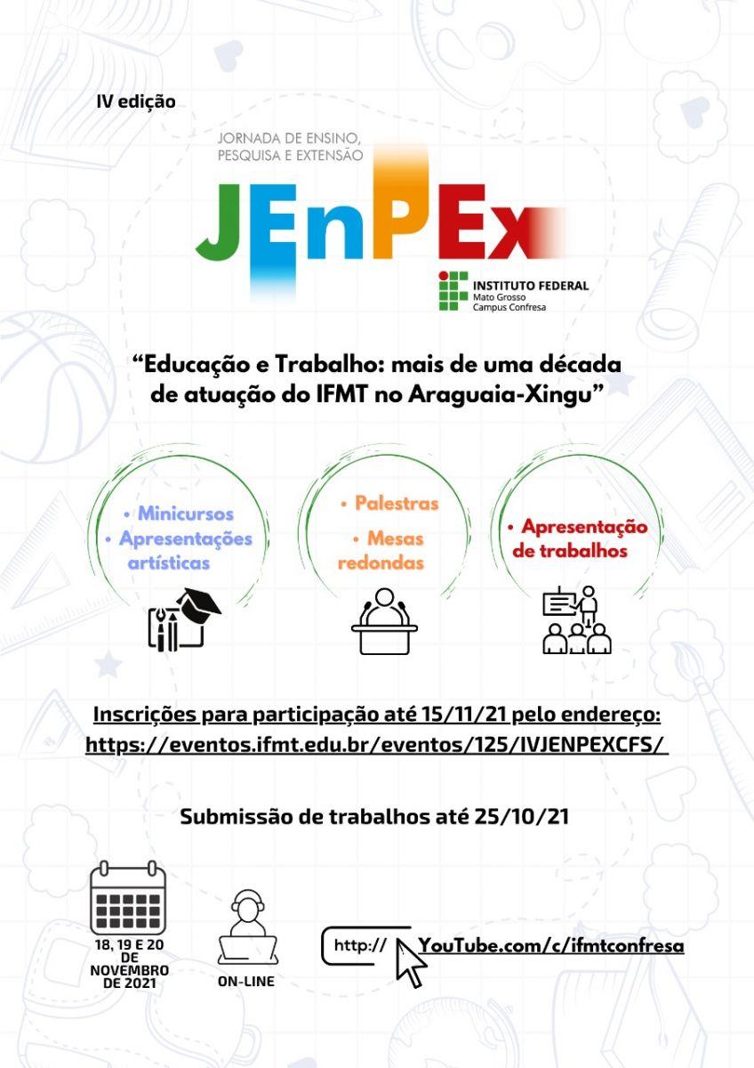 IV JENPEX – Educação e Trabalho: Mais de uma década de atuação do IFMT no Araguaia-Xingu