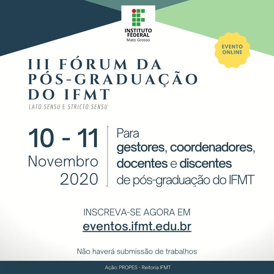 III Fórum da Pós-Graduação do IFMT